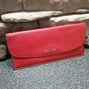 CORAL COACH LEATHER WALLET